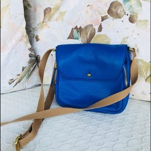 J. Crew Blue Leather Crossbody with Canvas Strap